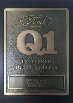 Certifikát - FORD Q1 Preferred Quality Status